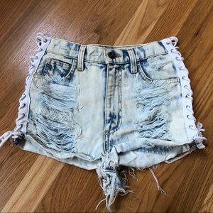 LF NWOT lace up denim shorts